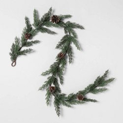 """72"""" x 6"""" Artificial Cedar Garland with Pine Cones and Glitter Green/Brown - Threshold™"""