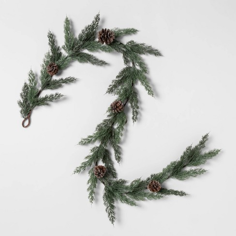"72"" x 6"" Artificial Cedar Garland with Pine Cones and Glitter Green/Brown - Threshold™ - image 1 of 4"