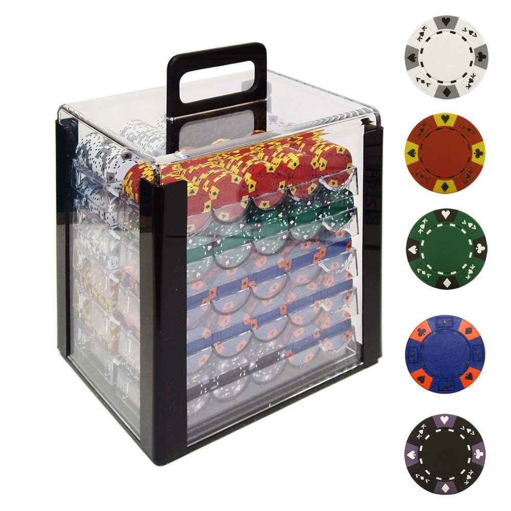 Tri Color Ace/King Clay Poker Chips with Acrylic Case