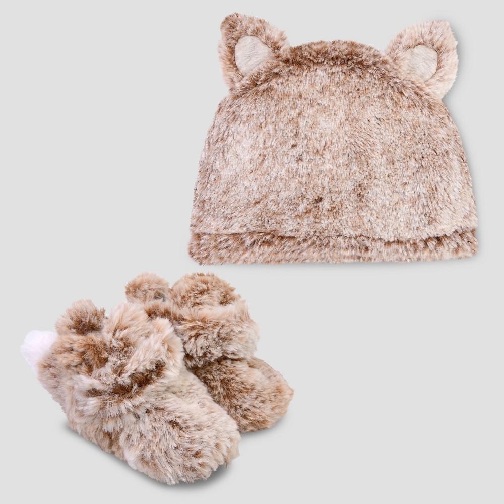 Baby Fox Booties & Hat Set - Cat & Jack Tan 0-3M, Multicolored