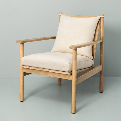 Slatted Wood Accent Chair with Cushion - Hearth & Hand™ with Magnolia