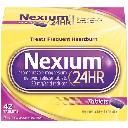 Nexium 24-Hour Delayed Release Heartburn Relief Tablets with Esomeprazole Magnesium Acid Reducer - 42ct - image 1 of 5
