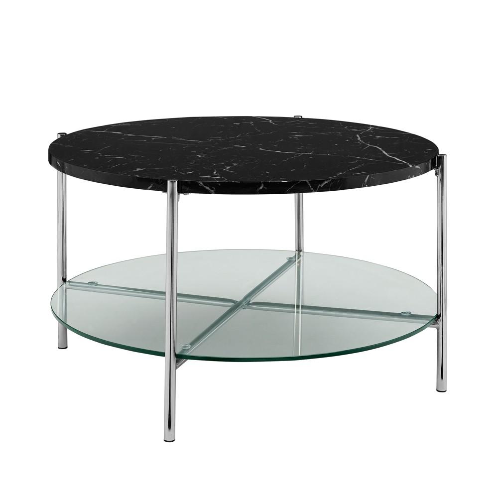32 Round Coffee Table Black Marble/Chrome - Saracina Home, Black Faux Marble/Grey