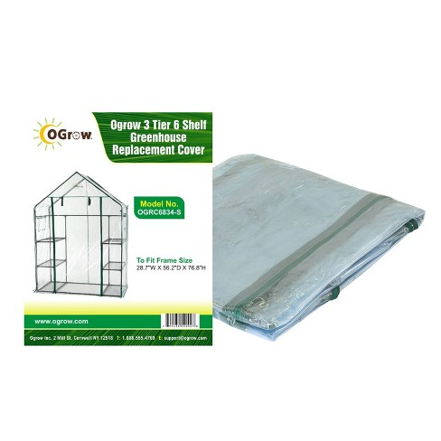 """3 Tier 6 Shelf Greenhouse Replacement Cover Frame Size 28.7/""""W x 56.2/""""D x 76.8/""""H"""