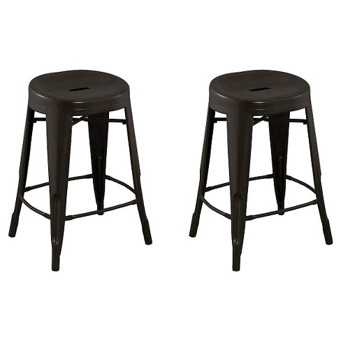 "Quinn™ Backless Contoured Seat 24"" Counter Stool Steel/Antique Brown (Set of 2) - Reservation Seating™ - image 1 of 1"