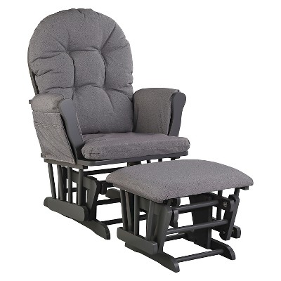 Stork Craft Hoop Gray Glider and Ottoman - Slate Gray Swirl