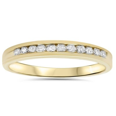 Pompeii3 1/4ct 14K Yellow Gold Diamond Wedding Guard Stack Ring - Size 10