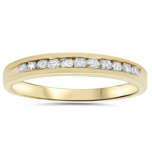 Pompeii3 1/4ct 14K Yellow Gold Diamond Wedding Guard Stack Ring - image 1 of 4