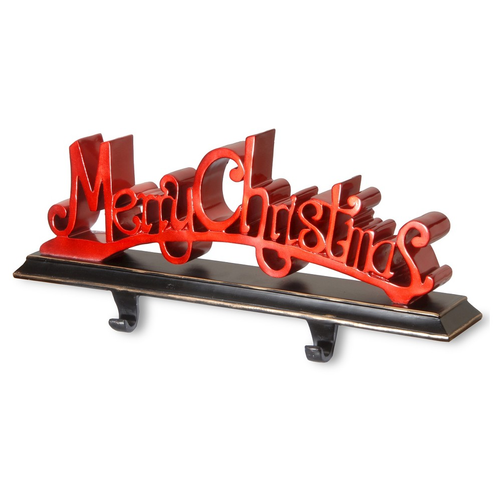 18 Polyresin Merry Christmas Red Decor includes Base & Hooks, Multi-Colored