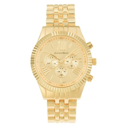 Women's Journee Collection Round Face Polished Link Watch - Gold - image 1 of 2