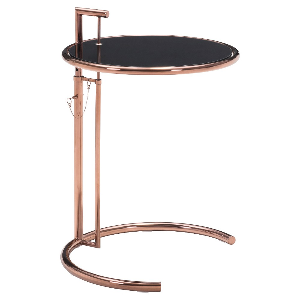 Modern Adjustable Tempered Glass and Rose Gold Chromed Steel End Table - ZM Home