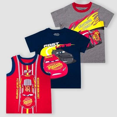 Toddler Boys' Disney Cars Lightning McQueen 3pk Short Sleeve T-Shirt - Red/Gray/Navy