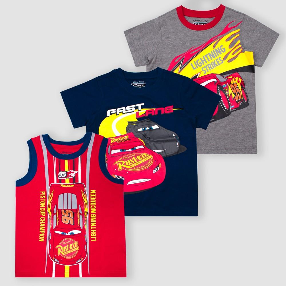 Toddler Boys' Disney Cars Lightning McQueen 3pk Short Sleeve T-Shirts - Red/Gray/Navy 2T, Multicolored