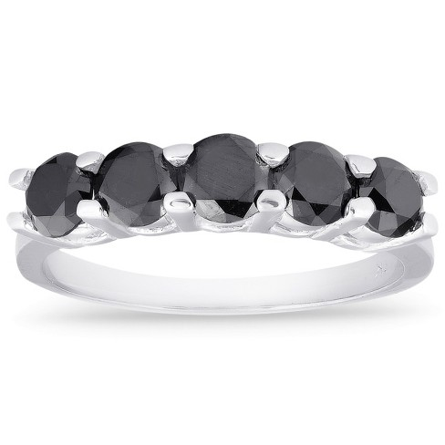 Pompeii3 1ct Five Stone Black Diamond Wedding Ring 14K White Gold - image 1 of 4