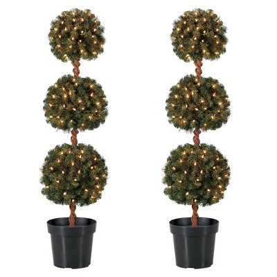 Home Heritage 4 Ft Artificial Tree w/ Clear Lights for Entryway Decor (2 Pack)
