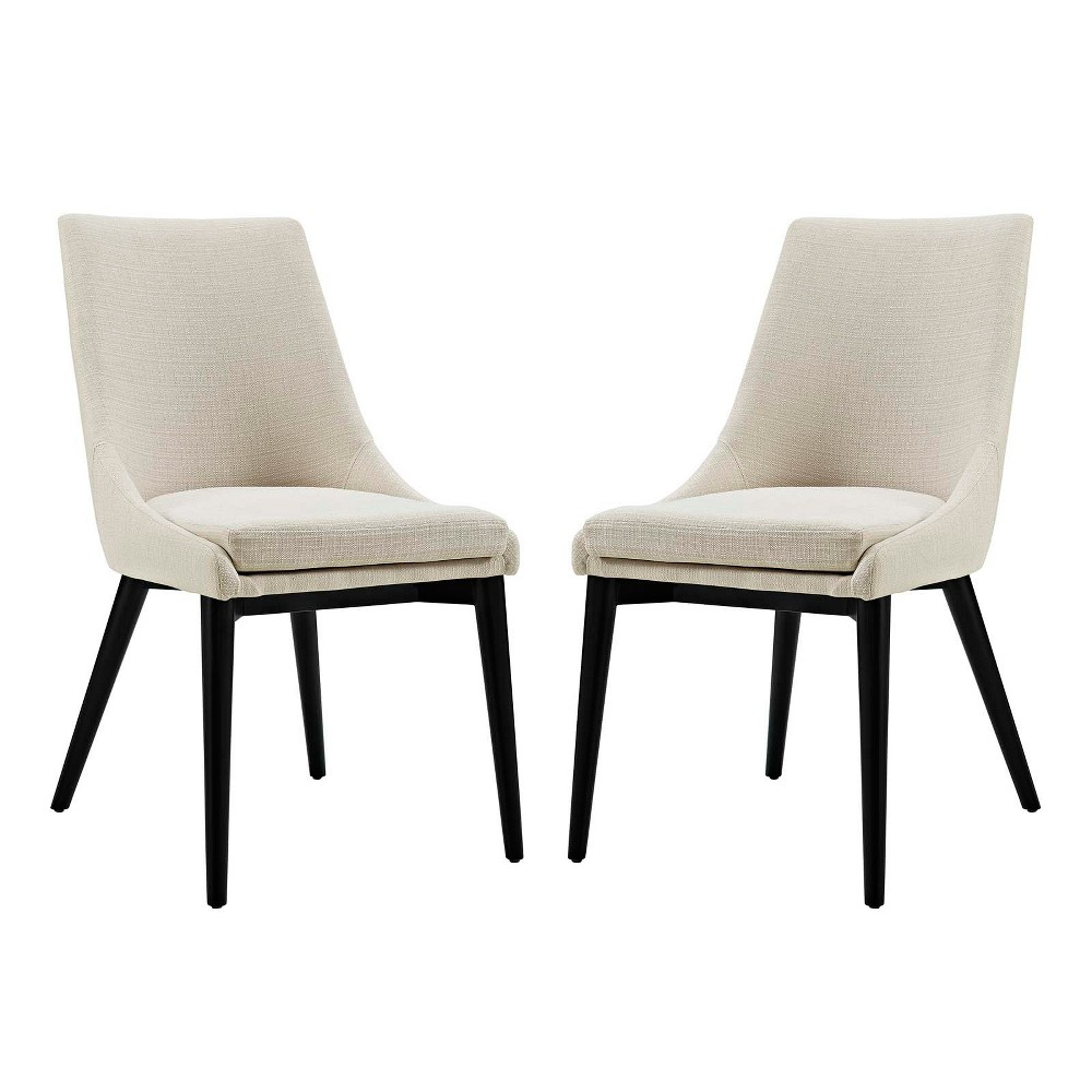 Viscount Dining Side Chair Fabric Set of 2 Beige - Modway