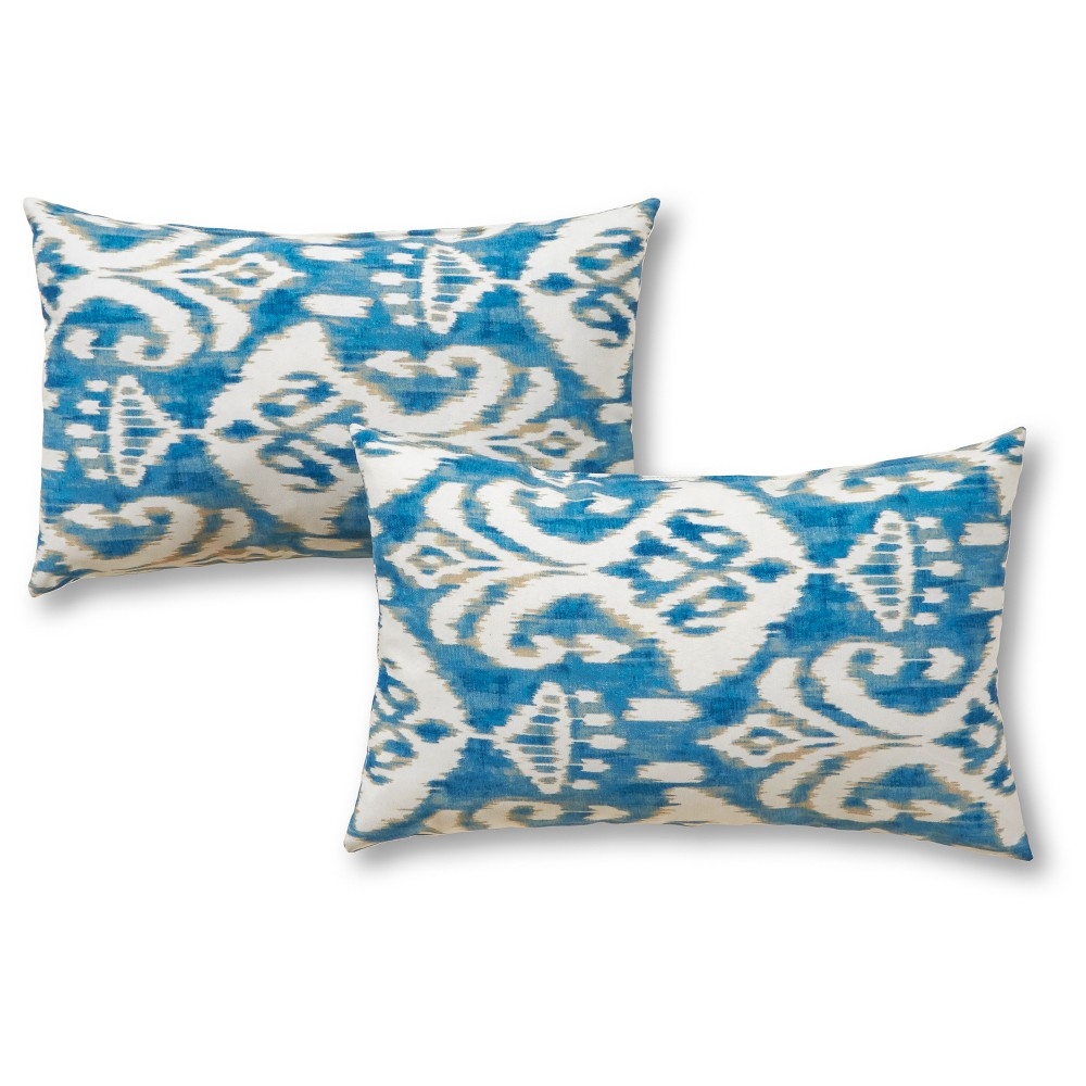 Image of 2pk Outdoor Throw Pillow Set - Blue/White - Greendale Home Fashions, Seaside