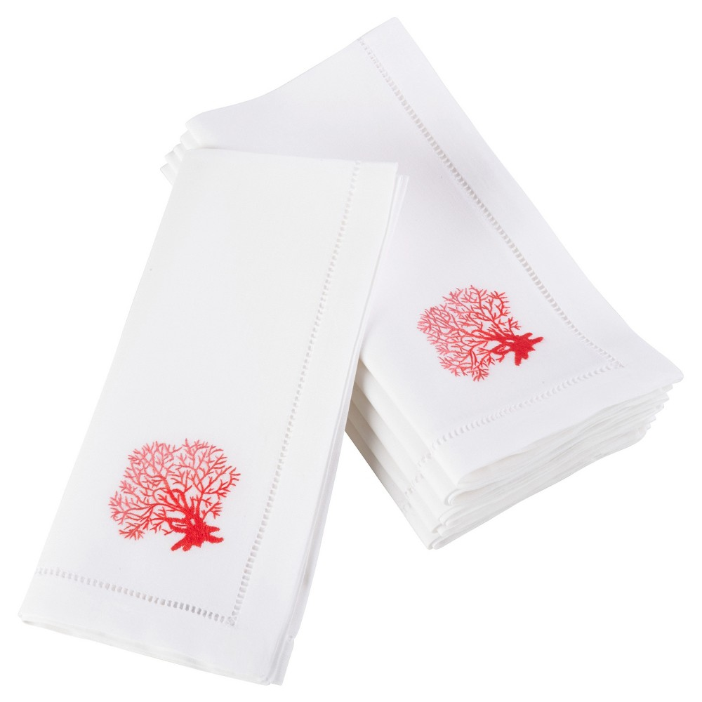 6pk White Embroidered Coral Design Napkin 20 - Saro Lifestyle