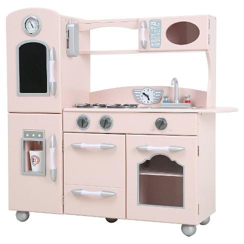 teamson kids retro wooden play kitchen pink target. Black Bedroom Furniture Sets. Home Design Ideas