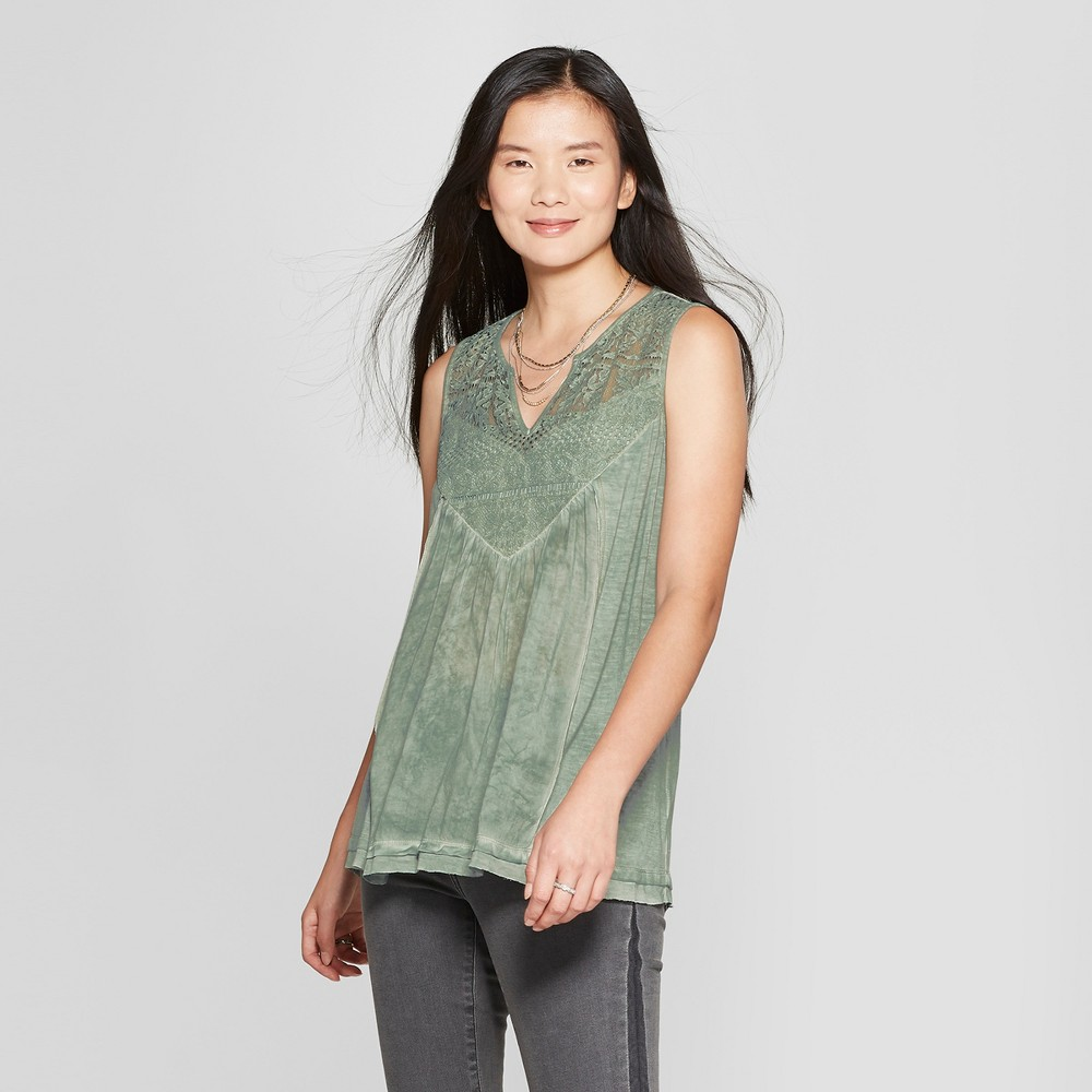 Women's Floral Print Lace Knit to Woven Oil Wash Tank - Knox Rose Mint M, Blue