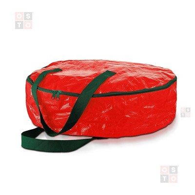 OSTO Water Resistant Christmas Wreath Storage Bag Holder, Year-Round Artificial Wreaths Storage Protection and Practical Features