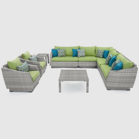 Cannes 9pc Corner Sectional and Club Chair Patio Set - Green - RST Brands - image 1 of 4