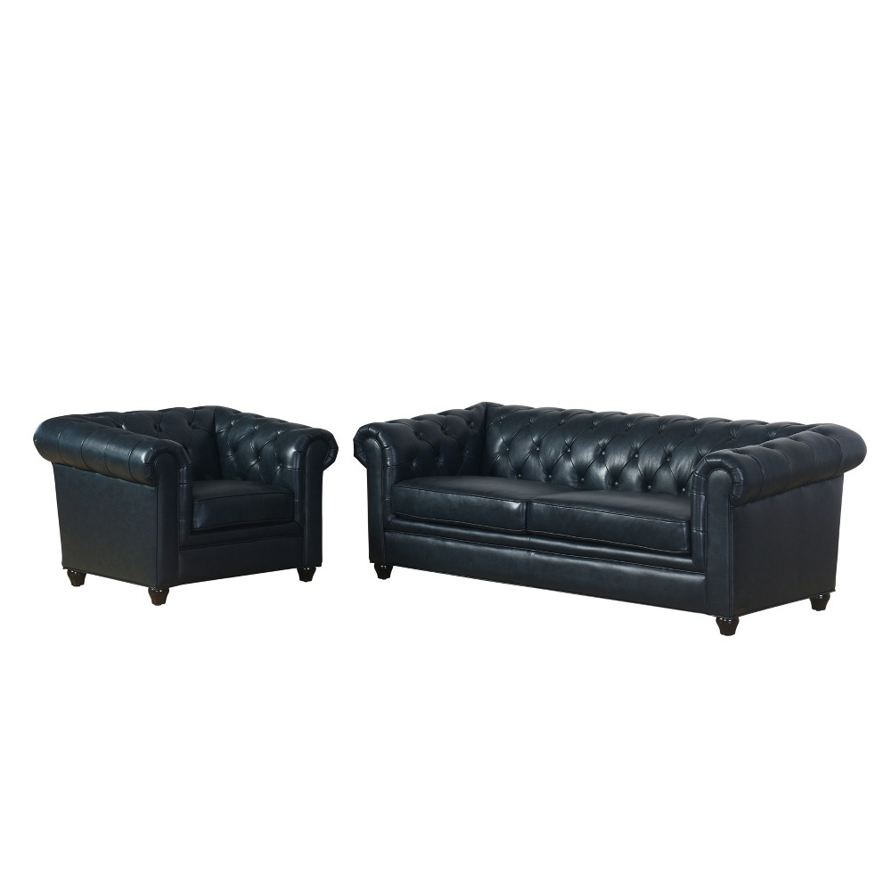 Image of 2pc Keswick Tufted Leather Sofa & Armchair Set Navy (Blue) - Abbyson Living