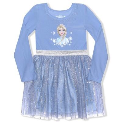 Disney Frozen Girl's Princess Elsa Knee Length Casual Tutu Dress with Long Sleeves for Kids, Purple