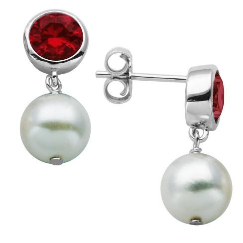 Sterling Silver Genuine White Pearl Earrings