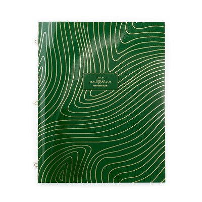 2021 3-Ring Planner Monthly Green Soft Touch - russell+hazel