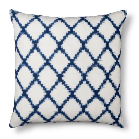 Throw Pillow Square Ikat Geometric Navy - Threshold™ - image 1 of 1