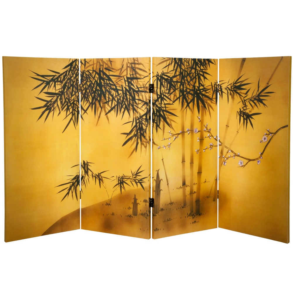 Image of 3' Tall Double Sided Bamboo Tree Canvas Room Divider - Oriental Furniture, Gold