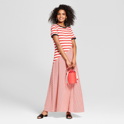 d4c671a2244d3 Women's Striped Short Sleeve Jersey T-Shirt Midi Dress - Who What Wear™
