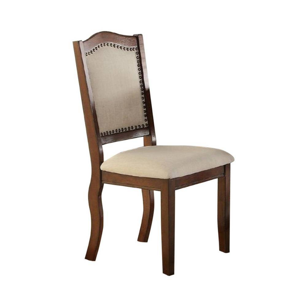Image of 2pc Contemporary Rubber Wood Dining Chair Brown/Cream - Benzara