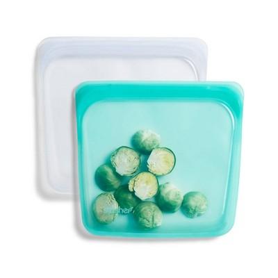stasher Reusable Food Storage Sandwich Bag - Aqua & Clear - 2pk