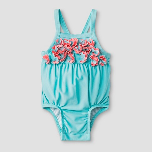 0e00104ff4 Baby Girls' Floral One Piece Swimsuit - Cat & Jack™ Blue : Target