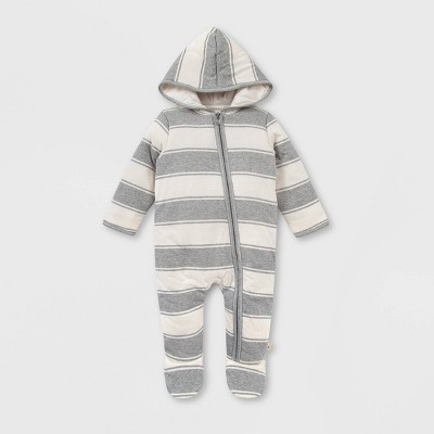 Burt's Bees Baby® Baby Organic Cotton Rugby Peace Striped Bunting Jumpsuit - Gray Newborn