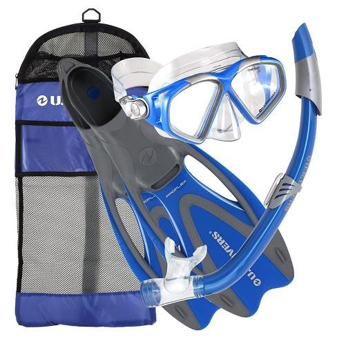 U.S. Divers Cozumel Adult Snorkeling Mask, Snorkel, Fins Set W/ Travel Bag, Blue - image 1 of 5