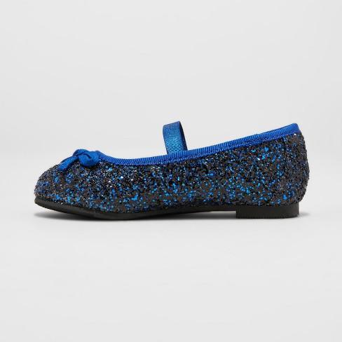 7281f68ba22c Toddler Girls' Cacey Glitter Ballet Flats - Cat & Jack™ Navy : Target