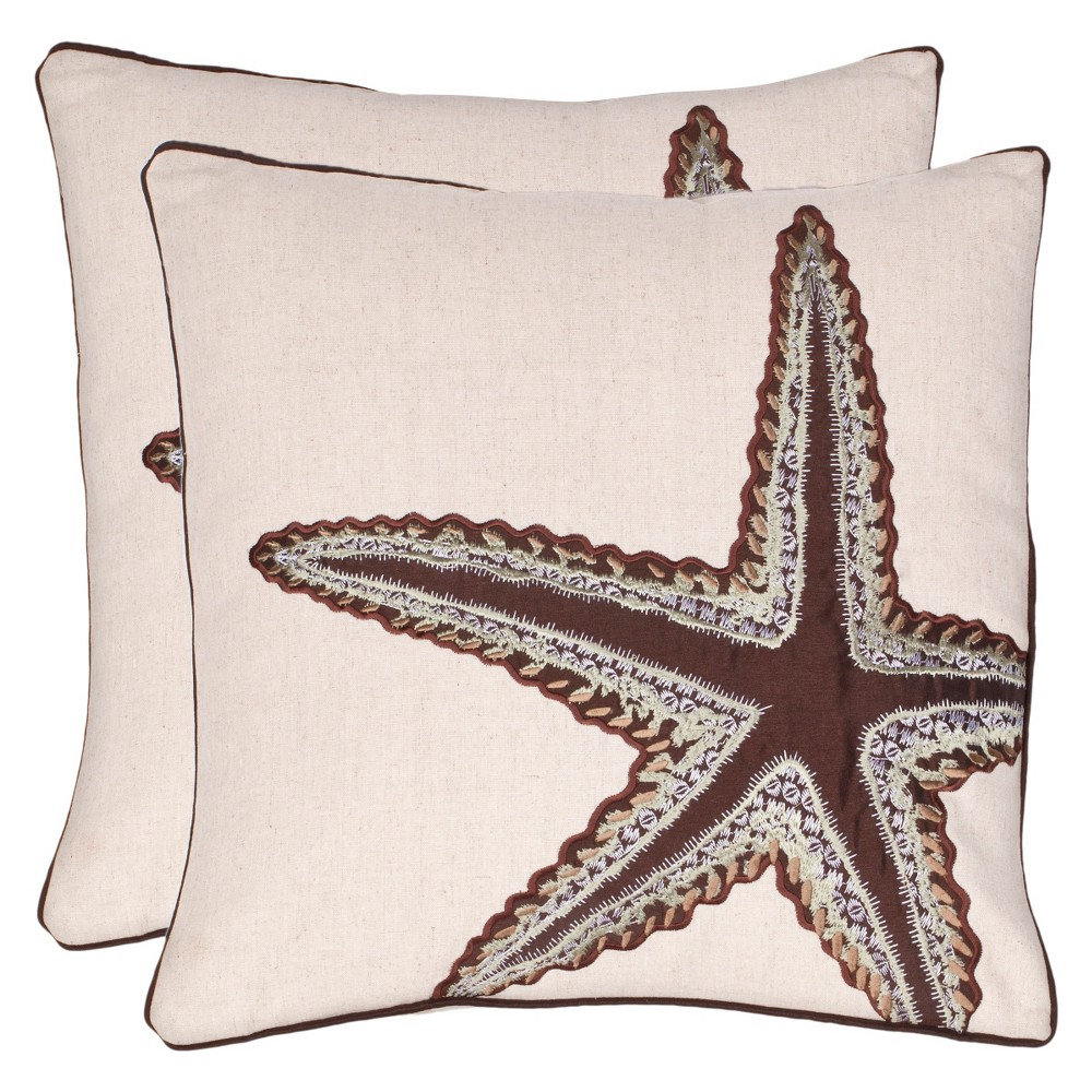 Brown Starfish Throw Pillow 2 Pack (18
