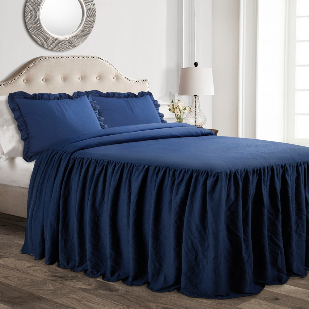 Twin 2pc Ruffle Skirt Bedspread Set Navy (Blue) - Lush Décor