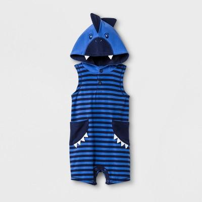 Baby Boys' Sleeveless Hooded Romper - Cat & Jack™ Blue 6-9M