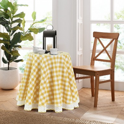 Kate Aurora Country Farmhouse Plaid Buffalo Check Stain & Spill Proof Fabric Tablecloths