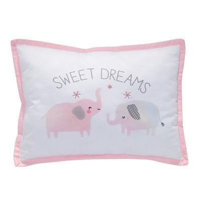Lambs & Ivy Watercolor Pastel Reversible Rainbow/Elephants Nursery Throw Pillow