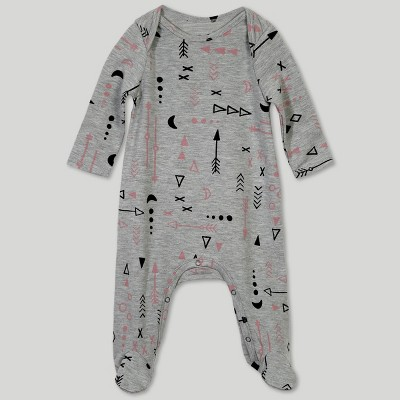 Afton Street Toddler Girls' Footed Long Sleeve Bodysuit - Gray 0-3M