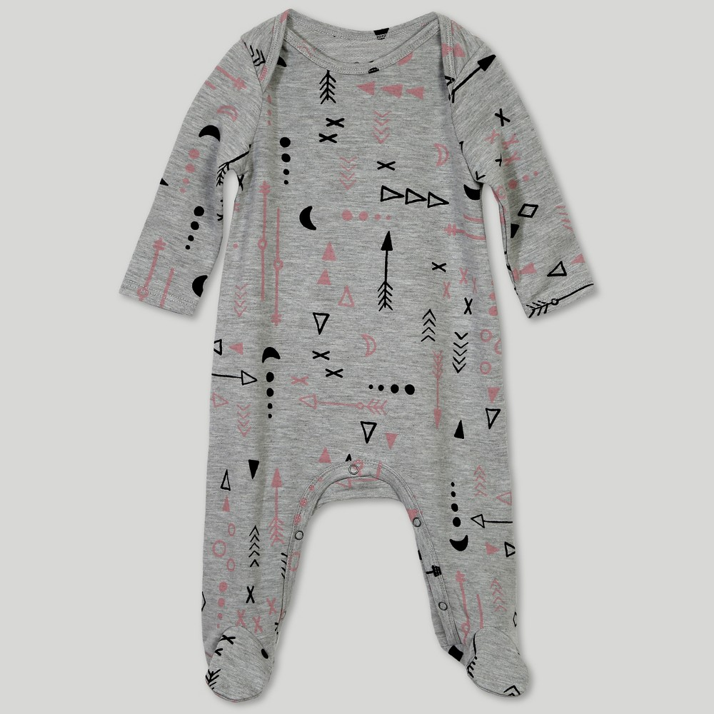Afton Street Toddler Girls' Footed Long Sleeve Bodysuit - Gray 12M