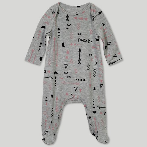 Afton Street Toddler Girls' Footed Long Sleeve Bodysuit - Gray - image 1 of 2