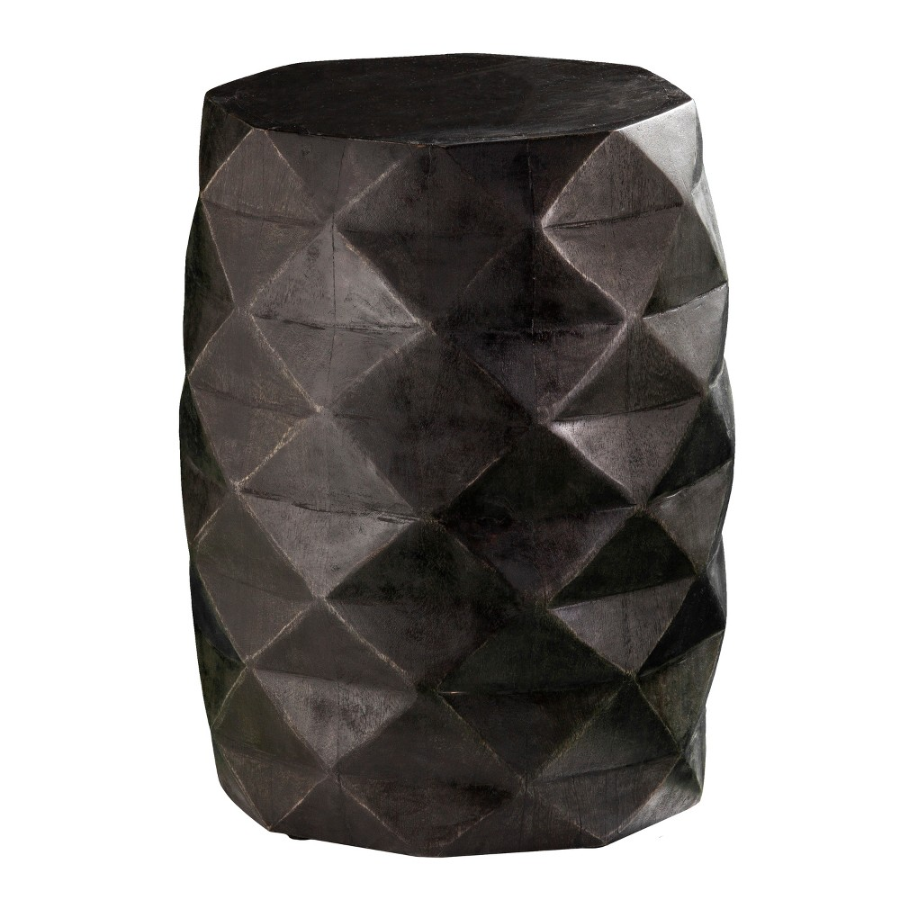 Colaba Solid Wood Accent Table/Stool Distressed Off Black - Holly & Martin