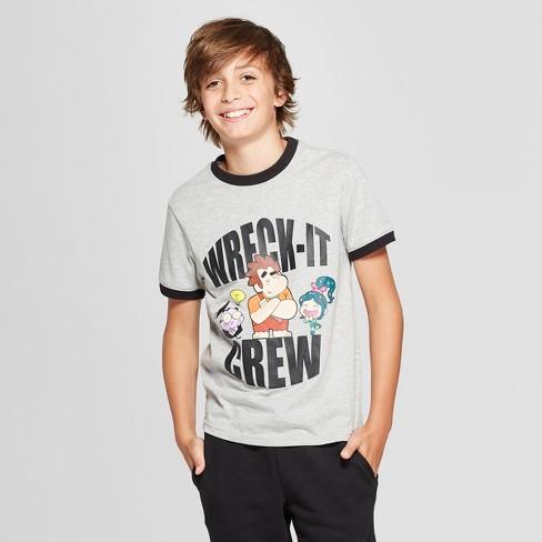 Boys' Wreck-It Ralph Crew Short Sleeve Graphic T-Shirt - Gray - image 1 of 3