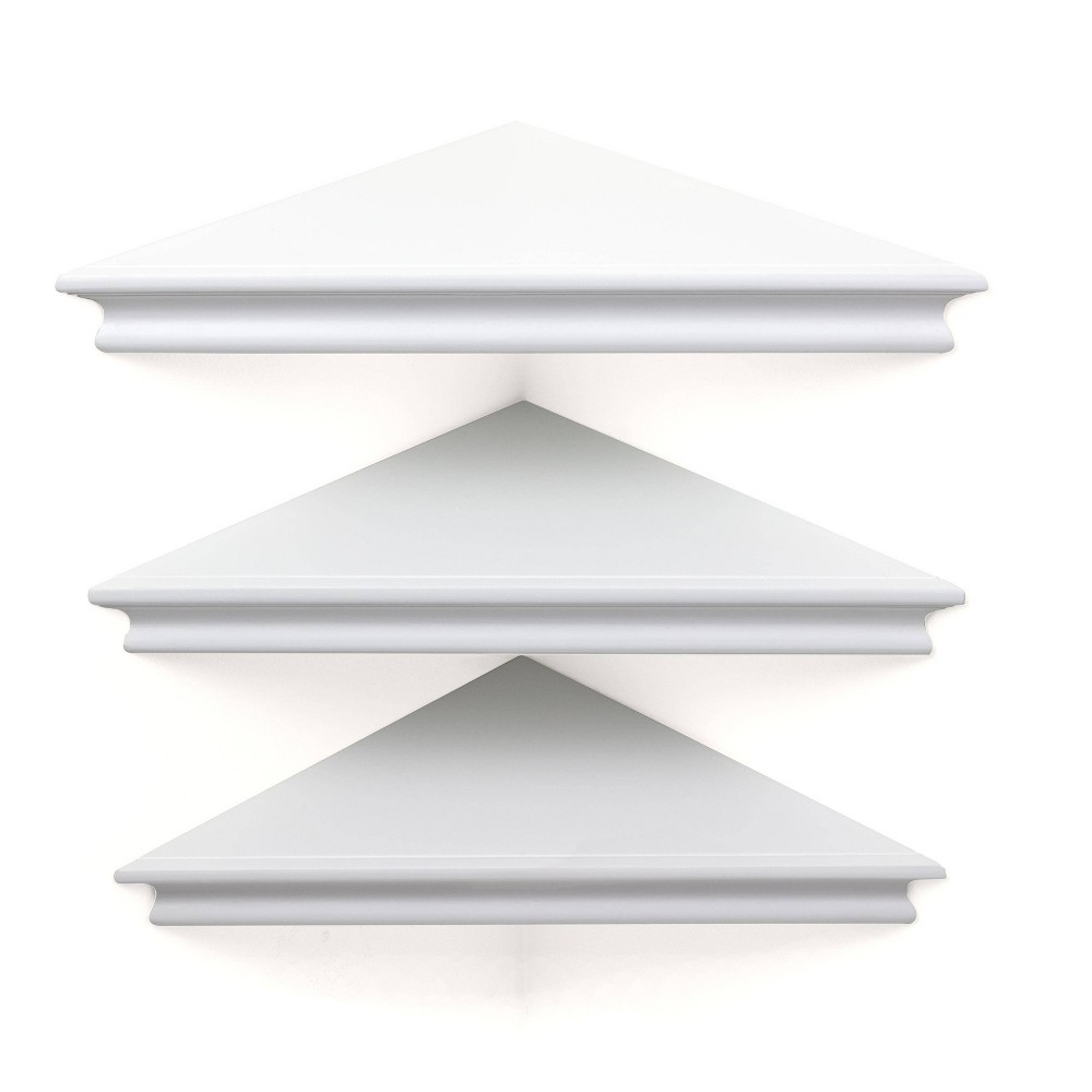 "Image of ""10.9"""" x 1.6"""" 3pk Providence Reilly Triangle Corner Shelf Set White - Kiera Grace"""
